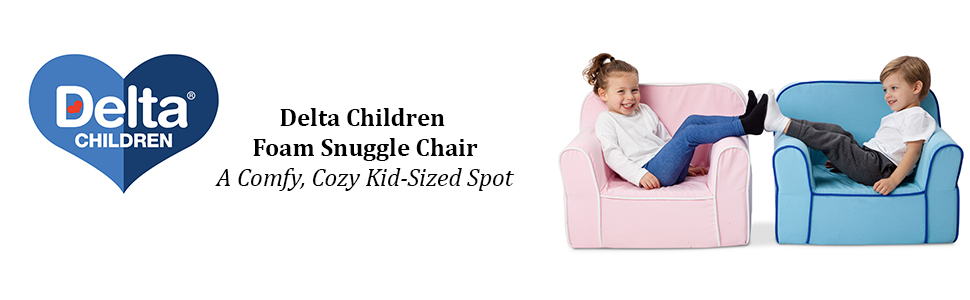 Delta Children Foam Snuggle Chair Pink with White