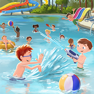 Danny and Charlie swimming and playing in pool - What Should Danny Do? On Vacation (The Power To Choose Series)