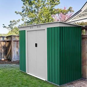 Gardiun KIS12909 - Caseta Metálica Buckingham (Verde) - 2,43 m² Ext.: Amazon.es: Jardín