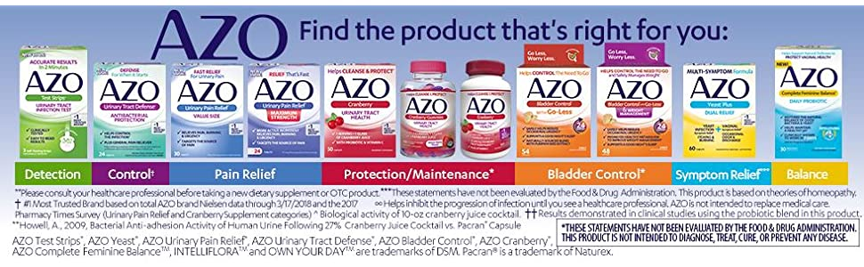 Check out the full line of AZO products to find the perfect one to help your urinary health