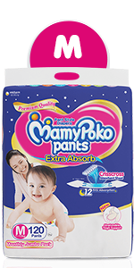 MamyPoko Pants Extra Absorb Diaper Monthly Jumbo Pack, Medium, 120 Diapers