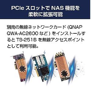 PCIeスロットでNAS機能を柔軟に拡張可能 別売の無線ネットワークカード(QNAP QWA-AC2600など)をインストールするとTS-251Bを無線アクセスポイントとして利用可能。