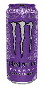 0 calories 0 sugar sugar-free lo carb diet energy purple can Monster grape energy drink Ultra Violet