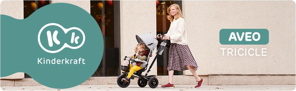 Kinderkraft Tricycle Enfant Évolutif AVEO, 9 Mois à 5 Ans, Accessoires, Gris