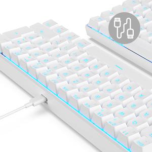 Rk Royal Kludge RK61-DE QWERTZ - Teclado mecánico con Bluetooth, teclas PBT, con cable/inalámbrico, teclado QWERTZ (no necesariamente español) blanco ...