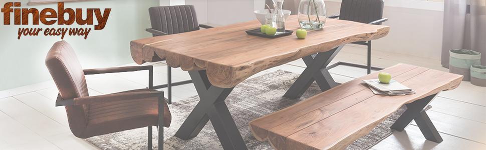 FineBuy Esszimmertisch 180 x 90 x 77 cm Akazie Landhaus Stil Voll Holz | Design Esstisch rechteckig | Tisch für Esszimmer Baumstamm | Küchentisch 6 8