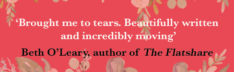 Beth O'Leary review quote on pink floral background