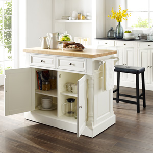 Crosley Furniture Oxford Natural Wood Top Kitchen Island White Kitchen Islands Carts