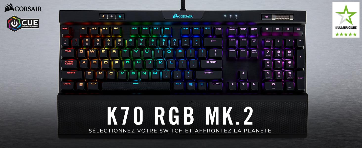 Corsair K70 RGB MK.2 Clavier Mécanique Gaming (Cherry MX Red
