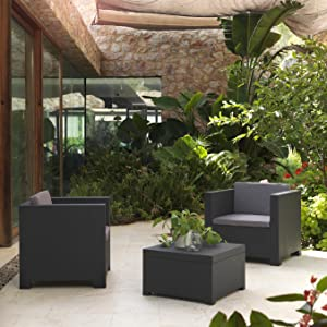 Shaf Diva À Tête Conjunto Jardin de Color Gris Antracita | Fabricado en España con Materiales Reciclados, 80x60x73 cm: Amazon.es: Jardín
