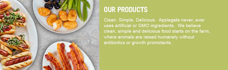 Applegate Natural Organic Meat ABF Non GMO No antibiotics preservatives msg nitrates nitrites