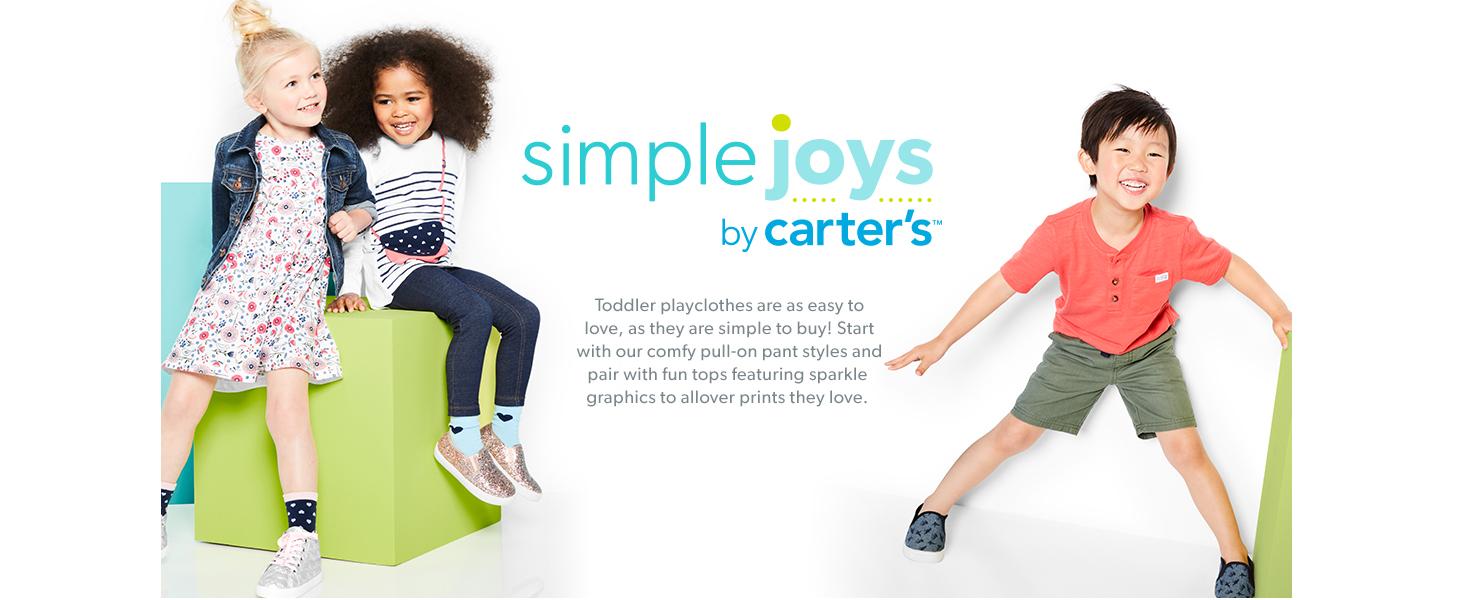 Simple Joys by Carters Set da 2 Vestiti A Maniche Lunghe Infant-And-Toddler-Playwear-Dresses Bambina Pacco da 2