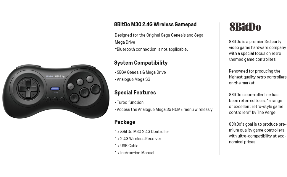 8bitdo M30 2.4G controller for SEGA Genesis Mega Drive controller game controller gaming controller