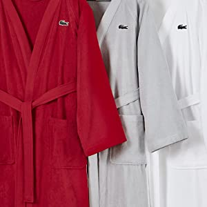 Amazon Com Lacoste Classic Pique 100 Cotton Bath Robe 41 5 L Sky Blue Home Kitchen