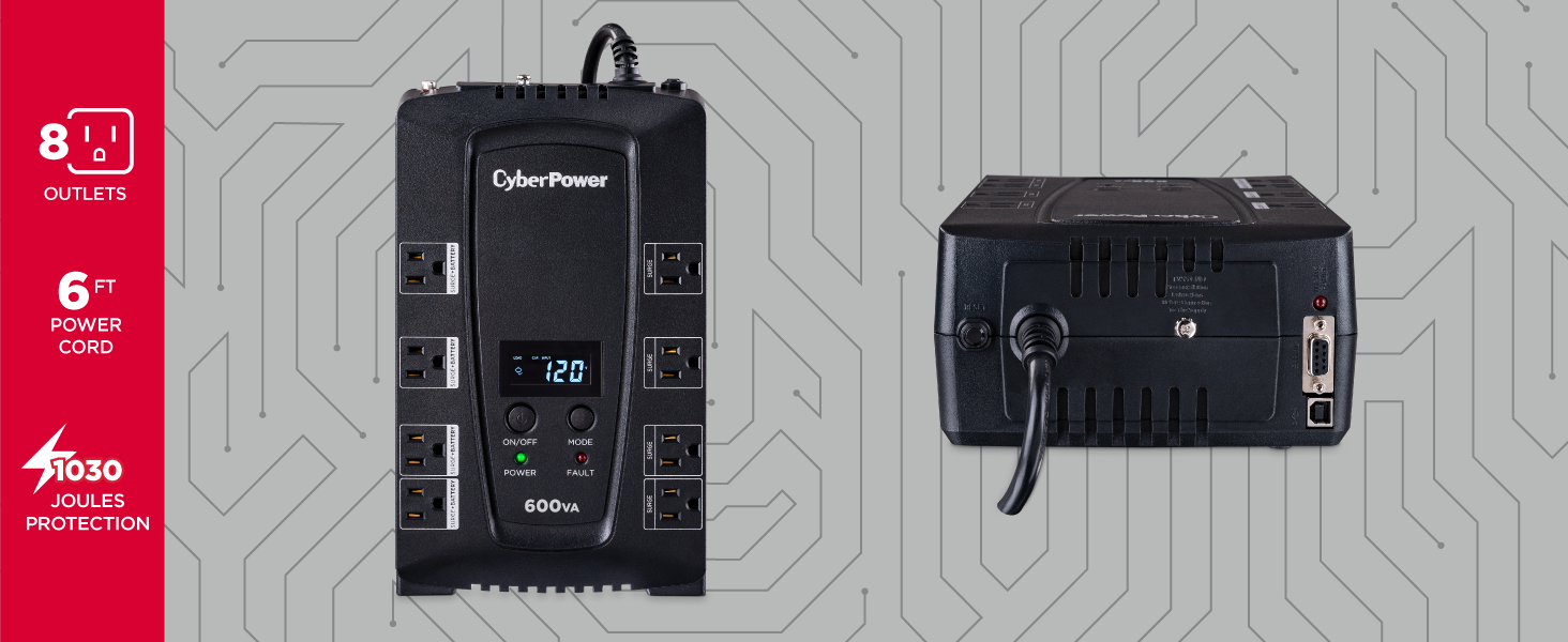cyberpower; cp600lcd; uninterruptible power supply; ups; battery backup; surge protection