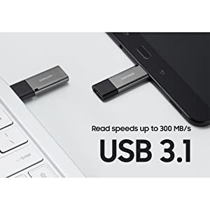 Blazing USB 3.1 read speeds up to 300 MB/s