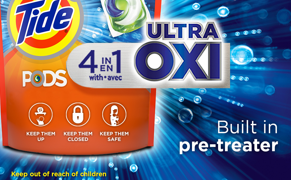 Tide PODS Ultra Oxi laundry detergent pacs have a built in pre-treater