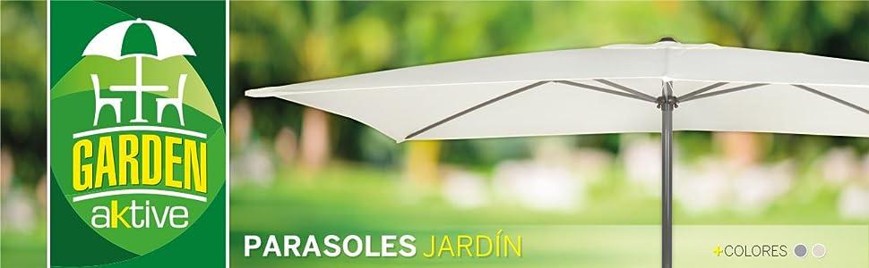 AKTIVE Garden 53879 Parasol balcón, 120 x 200 cm, crema mástil aluminio: Amazon.es: Jardín