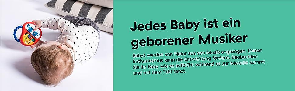 ab 12 Monaten Baby Einstein Musikspielzeug mit Lautst/ärkeregler und Lichtern die im Takt der Musik blinken Zahnr/äder