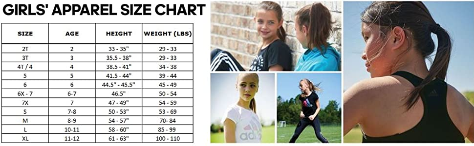 size chart fit guide girls clothes gym active action athletic