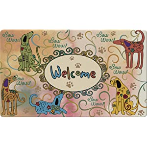 colorful;puppy;dog;greeting;welcome;animal;pet;paw;paws;swirl;design;artistic;multicolor