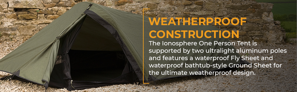 The Ionosphere One Person Tent is supported by aluminum poles and features a waterproof Fly Sheet