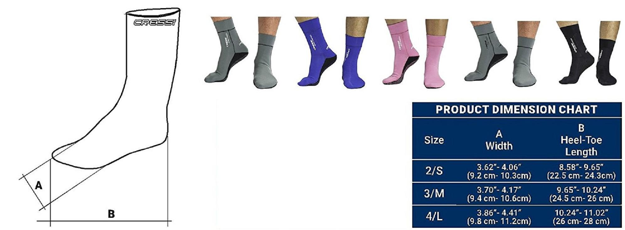 Cressi Black Neoprene Socks Resilient 5mm Ultra Stretch Neoprensocken