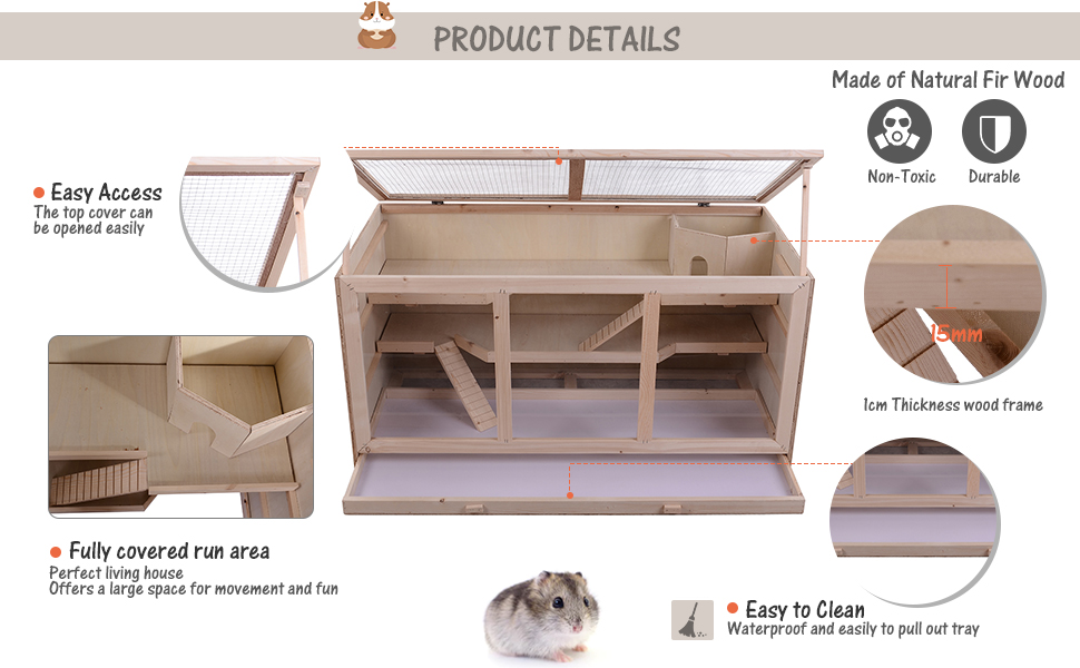 Fir Wood Hamster Cage Mouse Rats Mice Small Animals Exercise