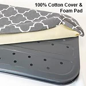 Cotton cover pad iron ironing board table cushion padding included steel top fabric grey