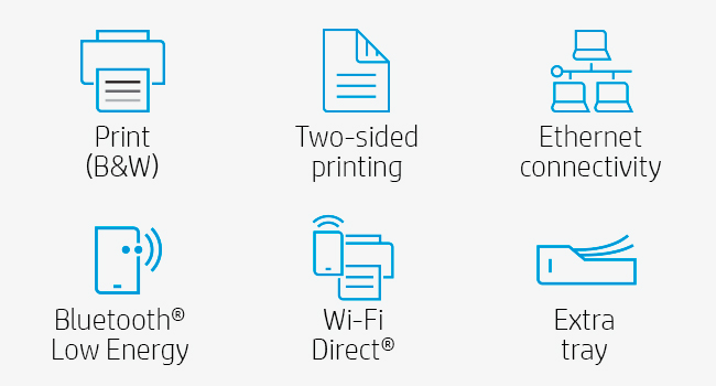 black white two-sided printing ethernet connectivity wi-fi direct extra tray