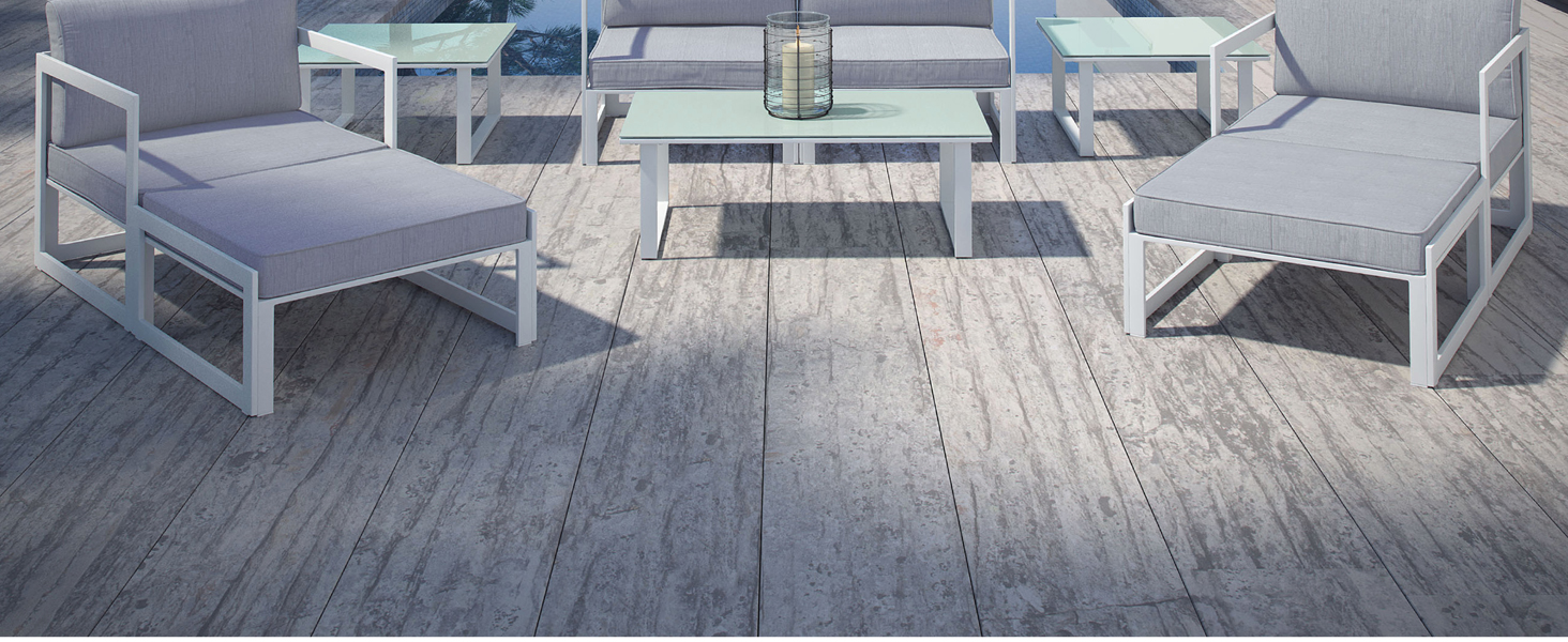 contemporary patios,backyards,poolside,powder-coated aluminum,engaging arrangement,side table