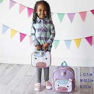 wildkin wild bunch kids toddlers boys girls backpack preschool school unicorn sparkle rainbow purple