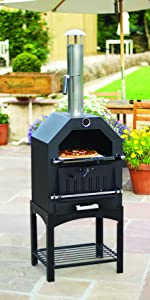 La Hacienda Firebox Bbq Pizza Oven Silver 56216 Amazonco