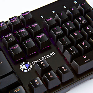 MILLENIUM MT2 - Teclado Mecanico Gaming para e-Sport (Retroiluminación Full RGB Personalizable, Anti-Ghosting, QWERTY Español, Cable USB Trenzado) ...
