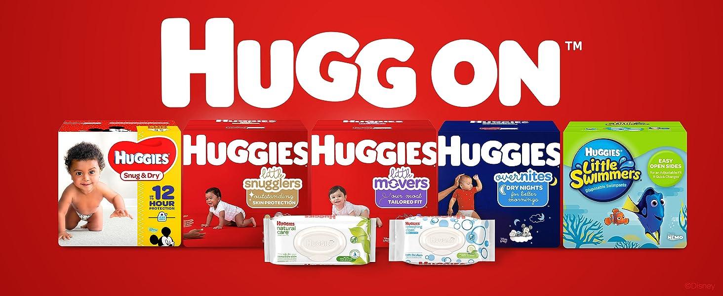 Huggies Little Movers Baby Diapers plus Huggies Refreshing Clean Wipes