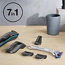 Braun MGK3042 7 en 1 Recortadora todo en uno, Máquina recortadora barba y cortapelos, recortadora para pequeños ...