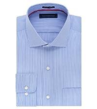 Tommy Hilfiger Men's Non Iron Regular Fit Stripe Spread Collar Dress Shirt