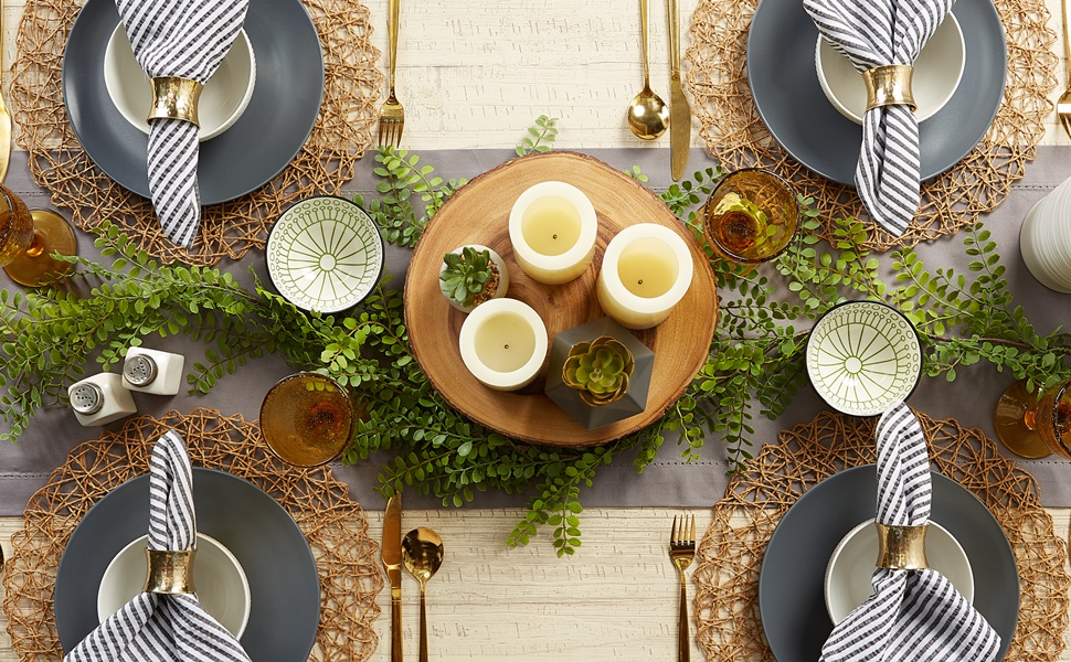 Beautiful table setting for 4 using DII's Hemstitch table runner and Striped Seersucker Napkins.