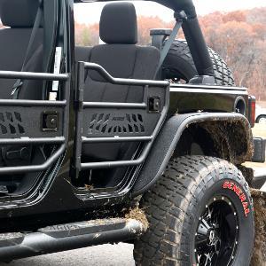 Advantages of ARIES Jeep doors & Amazon.com: ARIES 25009 Jeep Textured Black Aluminum Rear Tube Doors ...