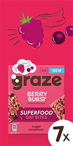 graze berry burst superfood oat bites havermoutrepen  7 x 120 gram