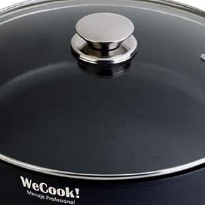 WeCook 10028 Cazuela de Cocina Inducción Profesional, Tapa de Cristal, Cacerola Antiadherente, Libre de BPA, 28 cm, Aluminio Forjado