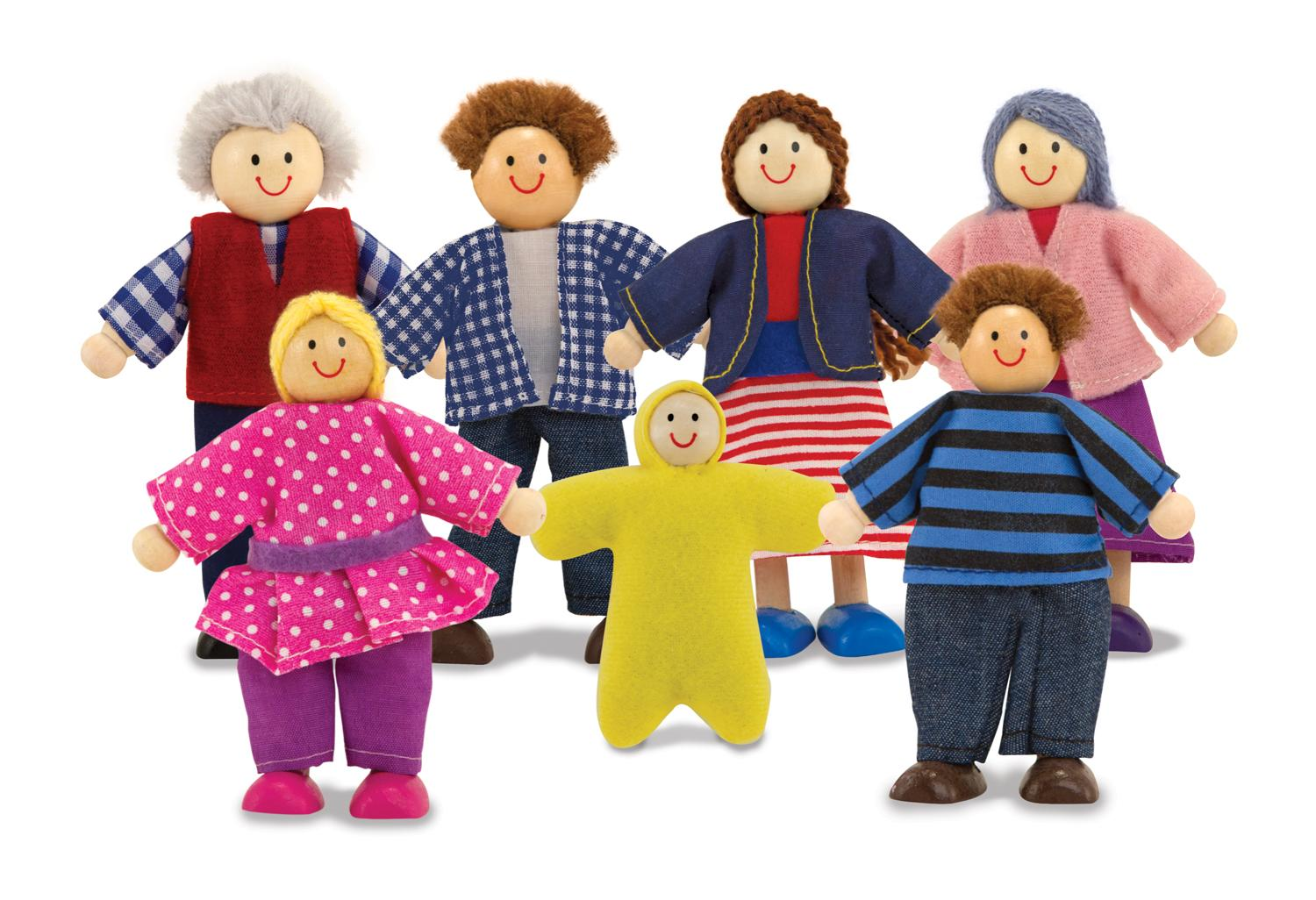 Imaginative Toys For Girls : Amazon.com: melissa & doug 7 piece poseable wooden doll family for