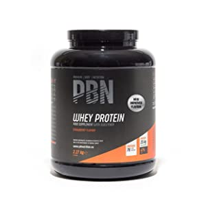 PBN Premium Body Nutrition Proteína de suero de leche en polvo, 2.27 kg, sabor fresa, sabor optimizado