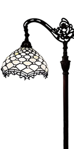 """Tiffany Style Torchiere Standing Peacock 72"""" Tall Stained Glass"""