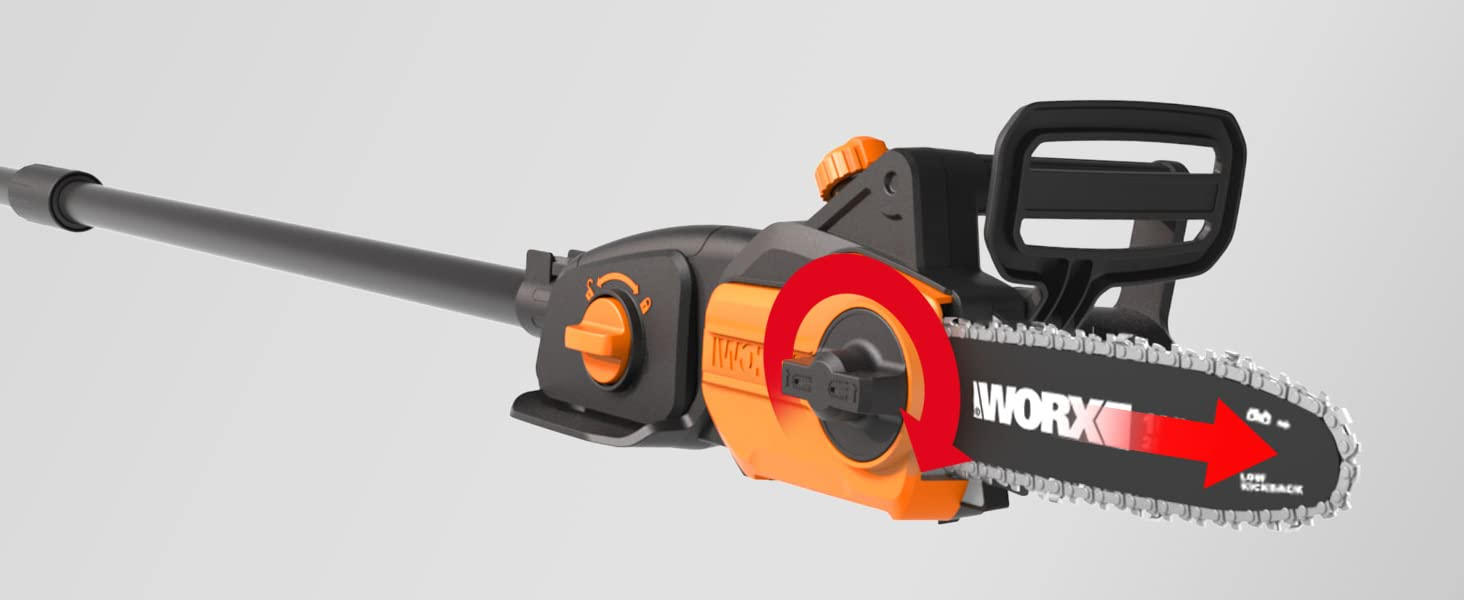 Automatic oil pump and tool-free chain tensioning improve performance and extend the life of the
