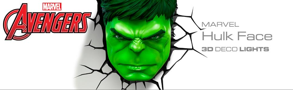 Marvel, Avengers, Hulk, 3D Deco Light, nightlight, LED bulbs, cordless nightlight, battery operated