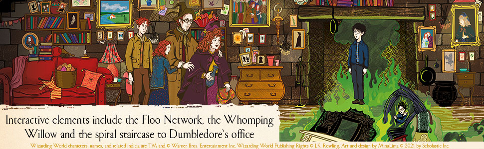 interactive elements include the floo network, the whomping willow, and more