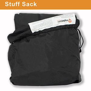 stuff sack, carry bag, drawstring bag, storage bag, sewn-in instructions