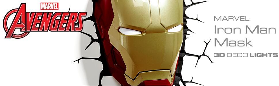 Marvel, Avengers, Iron Man, 3D Deco Light, nightlight, LED bulbs, cordless light, battery operated