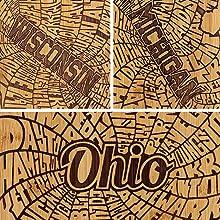 State Cutting Board, Texas, Wisconsin, Ohio, California, Michigan, State Shape, Totally Bamboo, Gift